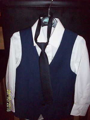 Boys Formal WaistCoat Shirt and Tie Set Aged 4-5 Excellent Condition