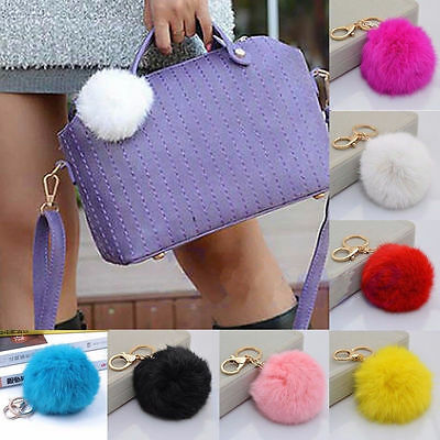 Charm Key Ring Rabbit Faux Fur Pom Ball Cell Phone Car Keychain Pendant Handbag