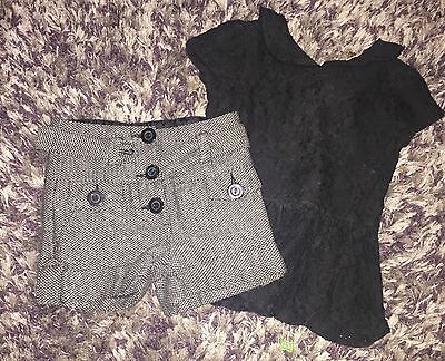 Girls Next Outfit Glitter Wool Shorts & Lace Detail Top Age 3 Y