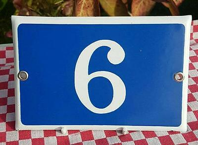 Vintage French Industrial Traditional Blue & White Enamel Door / House Number 6