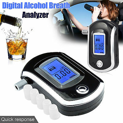 Professional Police Breath-Alcohol Tester LCD Digital Breathalyser  Detector