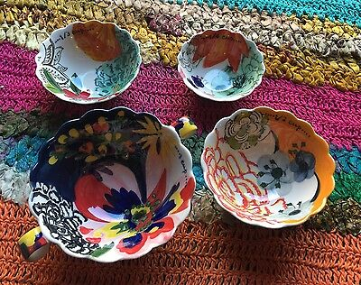 """New Anthropologie Measuring Cups - Set Of 4 """"painted Amaryllis"""" Floral Neepa"""