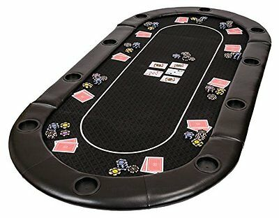 Classic Folding Poker Table Top in Black Suited Speed Cloth and Bag – 200cm