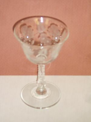 Libbey Rock Sharpe Etched Flowers & Fern Leaves Wine Champagne Cocktail Glass