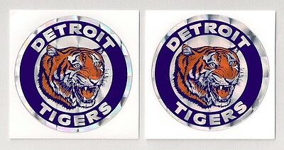 Detroit Tigers Team Logo MLB Prismatic Decal Stickers Lot of (2)
