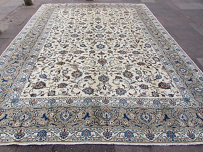 Fine Old Traditional Hand Made Persian Oriental Cream Wool Carpet Rug 410x305cm
