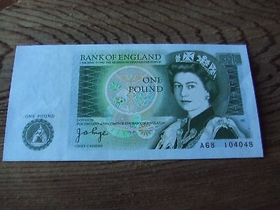 J.b. Page.  One Pound Note. 1978 Issue.    Mint Condition.