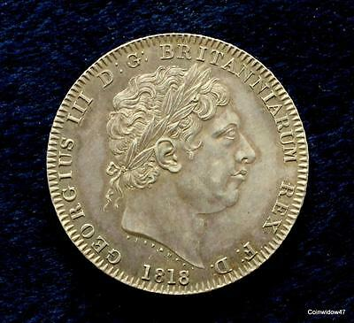 High Grade And Rare 1818 King George III Silver Crown   LVIII Edge