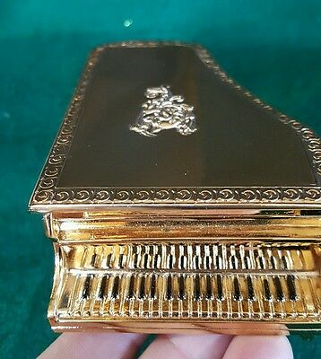 Vintage Piano Shape Music Jewelry Box Sankyo Cast Metal Made in Japan