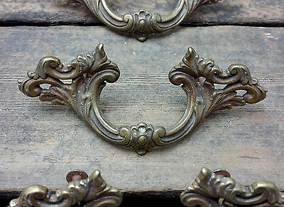 "ONE Vtg Antique Fancy SHABBY Victorian CAST Brass Pull Handle Drawer 2 1/2"" CC"