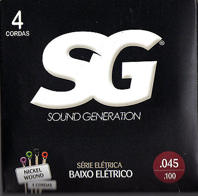 3 sets of Bass guitar strings by SG from Brazil, nickel wound, .045 / .100