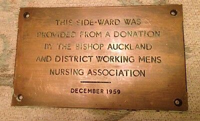 Genuine Bronze Vintage Sign Plaque BISHOP AUCKLAND WORKING MENS NURSING Asc.