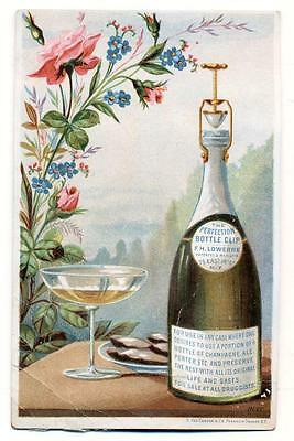 c 1884 CHAMPAGNE WINE BOTTLE TRADE CARD, PERFECTION BOTTLE CLIP NY, CORK SCREW ?