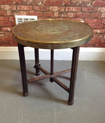 Vintage Middle Eastern Brass Top Hand Engraved Folding table