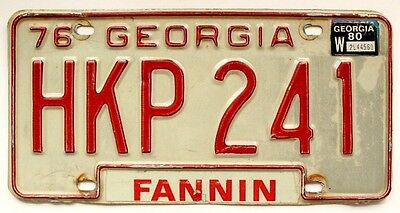 Georgia 1976 1980 License Plate, Fannin County, HKP 241, Man Cave, Garage Decor