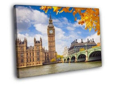 London Westminster Palace Big Ben Great Britain FRAMED CANVAS WALL PRINT