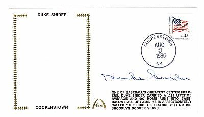 Duke Snider Signed First Day Cover Autograph Auto Cooperstown 1980