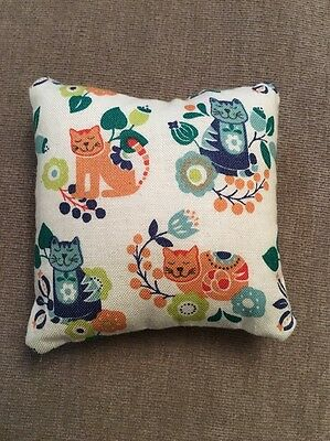 Handmade square mini pillow cat toy with catnip gift pet Christmas Blue