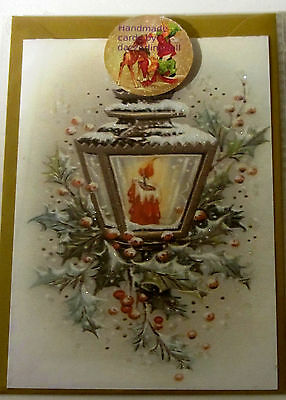 Vintage STYLE handmade  Christmas cardS glittered snow lantern candle