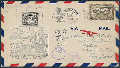 1930 AAMC #3011q Flight Cover Onward to England, Short Paid, 2d Postage Due Tied