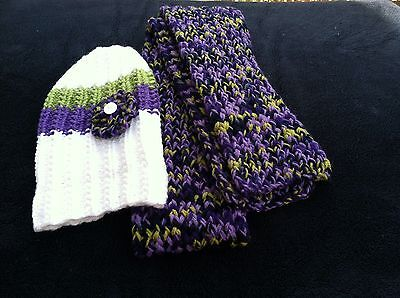 Handmade Crochet Beanie Hat And Scarf Set