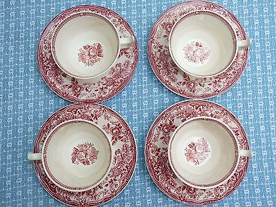 Vintage TONQUIN TEA CUP SET - 4 Clarice Cliff PINK Transferware Red - EXCELLENT