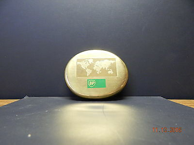 Bp Solid Brass Paperweight With World With World & Logo Etching