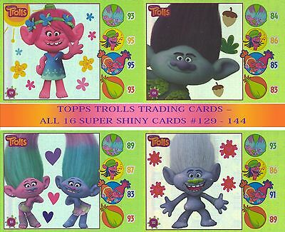 Topps Trolls Trading Card Collection - Full Set Of 16 Super Shiny Cards