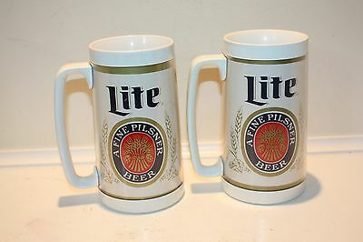 Miller Lite Plastic Thermo Serv Mugs - Two (2)