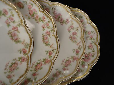 4 HAVILAND SAUCERS #270 PINK ROSES PERFECT Double Gold LIMOGES  Porcelain