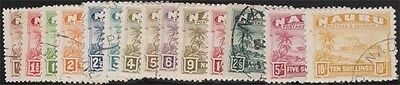 NAURU KGVI 1937-48 Complete 'B' Set of 14 Scott 17a-30a SG26B-39B Used cv £225