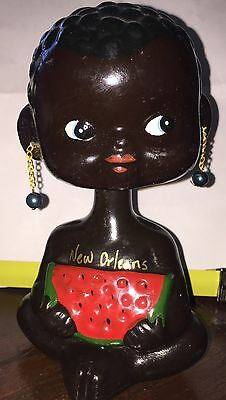 Vintage Black Americana Bobble Head Nodder Bank With Watermelon