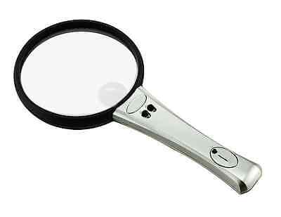 10X 20X Bifocal Double Lens Handheld 90mm Illuminated Magnifier Magnifying Glass