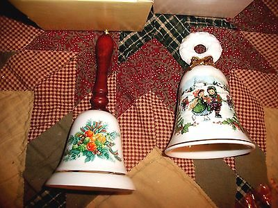 Lot of 2 Vintage AVON  Collectibles CHRISTMAS BELLS 1985 1986  NEW NIB Porcelain