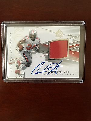 2014 SP Authentic Carlos Hyde Rookie Auto Patch /550 Football Card 49ers