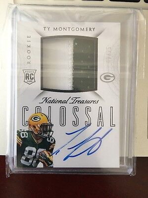 2015 National Treasures Ty Montgomery Auto Rookie Patch /25 Football Card Packer