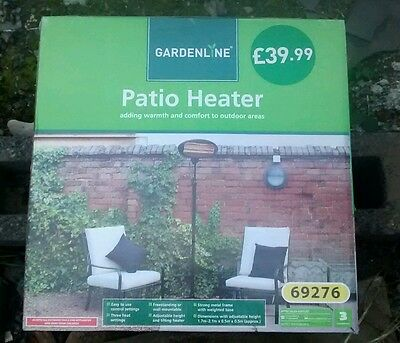2KW Patio Heater Gardenline Free Standing Electric Garden Outdoor Adjustable