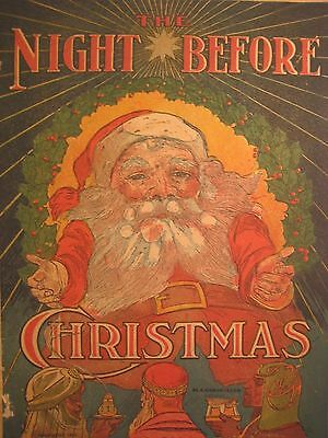 ANTIQUE NIGHT BEFORE CHRISTMAS COLOR ILLUSTRATIONS santa RARE STORE GIVE AWAY