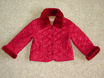 Monnalisa designer 2 years, 24 months red jacket, coat with fur EX, gorgeous
