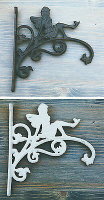 Cast Iron Ornate Fairy Hanging Flower Basket Bracket Hook in 3 colours