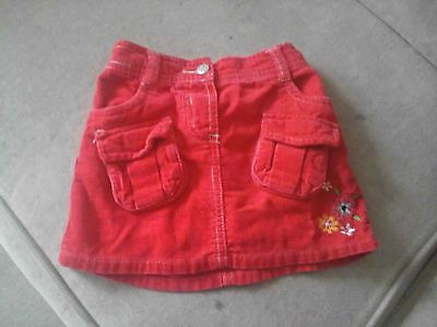 Girl's George Red Cord Skirt (flower detail) - size 1 1/2-2 years