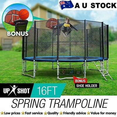 Trampoline NEW 16ft Round FREE Basketball Set+Safety Net+Spring Pad Cover Ladder