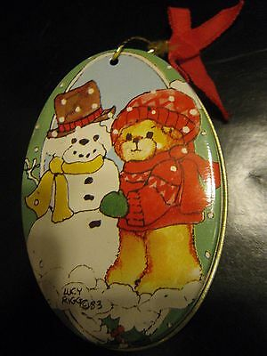 Lucy Riggs Vintqge 1984 Bears With Snowman Tree Ornament Tin