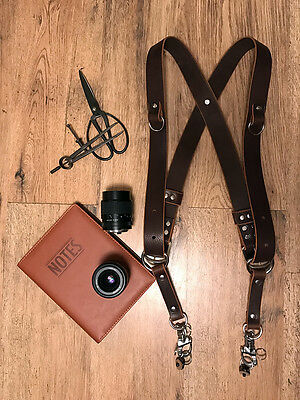 Dual Camera Harness Multicamera Shoulder Strap Leather Camera Harness Dark Brown
