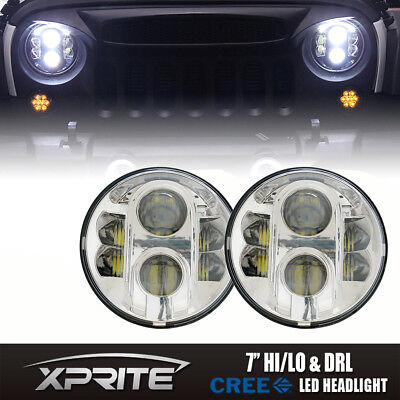 "7"" Round 120W LED G4 Chrome Projector Headlights & Top Halo DRL Fits 97-16 Jeep"