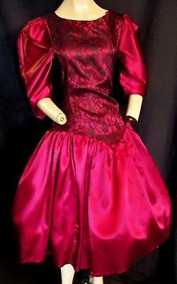 """1980's Vintage Burgundy Satin And Black Lace  Full Dress ,prom- Bust 36"""""""