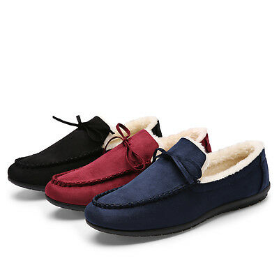 Mens Winter Warm Casual Slip On Loafer Shoes Fur Lined Snow Shoes Black Red Blue