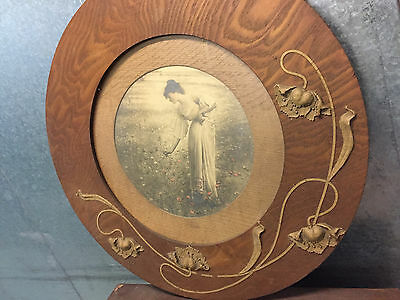 Art Nouveau Round Timber and Plaster Frame