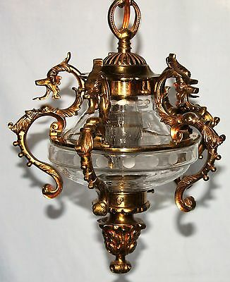 Vintage Ornate Petite Swag Brass & Glass Crystal Chandelier Serpent Arms