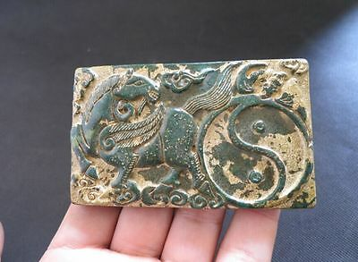 Old Chinese natural jade hand-carved horse Ink stone M844